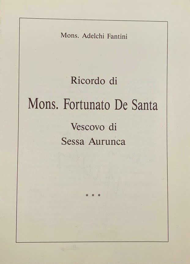 Ricordo di Mons. Fortunato De Santa