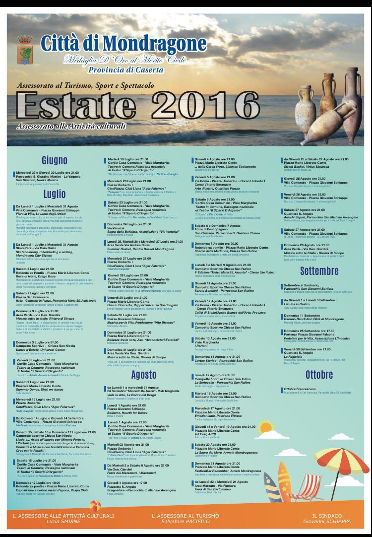 programma mondragone 2016