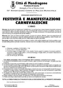 ordinanza carnevale 2013 mondragone