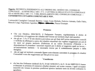 censimento stranieri mondragone proposta